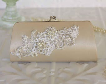 Vintage Inspired Taupe Satin Bridal Clutch Purse