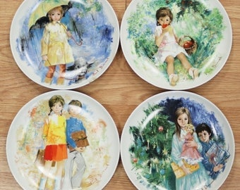 Set 3 Les Enfants De Durand Collector Plates Paul Durand Seasos 1978-81 Limoges