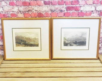 Pair of Thomas Allom Hand Tinted Engraving Prints of Scotland, Framed