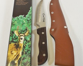 "Vtg Hunters Choice Fixed Blade Hunting Knife - Rosewood Handle, 6"" Blade - NOS"