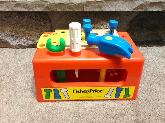 Vintage fisher price 1980 wood top workbench tool set Fisher price tool bench