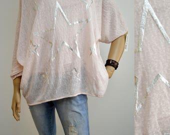 40 42 44 46 / 12 14 16 18 Italian Boutique Cotton Lagenlook T-Shirt Tunic 2 Pc Stars