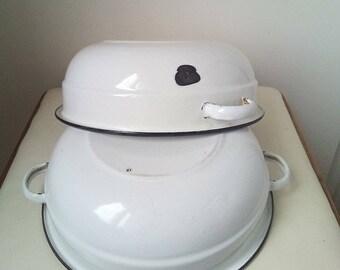 10%Off Bowl set Vintage white enamel, rustic kitchen decor, white black rim antique farmhouse enamelware cottage chic