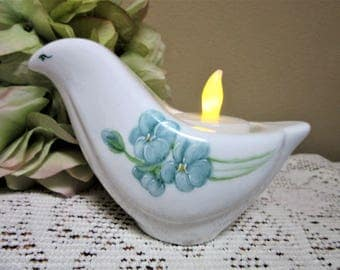 Sale Candle Holder Dove Bird Tea Light Porcelain Ceramic Pottery Hand Painted