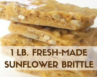 Gift for Students, Artisan Sunflower Brittle 1 pound Hand Stirred Fresh Made to Order Made in Kansas