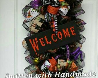 CLEARANCE SALE!! Halloween Wreath, Halloween Swag, Ready to Ship Teardrop Halloween Swag, Clearance Halloween Door Decor, Elegant Swag