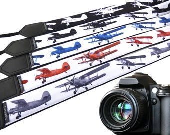 Airplanes camera strap. Multicolor camera strap. Aircraft. DSLR / SLR Camera Strap. Camera accessories. Gift for pilots & dreamers.