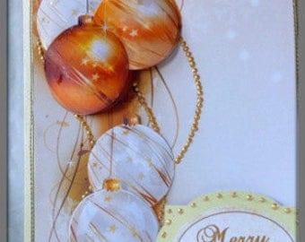Christmas bauble card, 3D Christmas card,  Merry Christmas card, Contemporary Christmas, Ready to ship