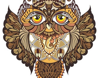 Illustrated Owl Psychedelic Detail     s  Tattoo3.5 Inches White Vinyl  Sticker Decal Laptop Car Bumper Sticker