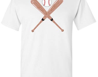 Baseball and Bat Men's White T shirt
