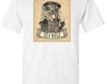 Ship Captain Sea Wolf Pipe Smoking Men's White T shirt