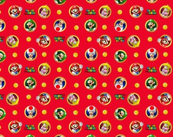 Nintendo Super Mario Badges on Red cotton woven fabric