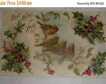 ON SALE till 7/28 Four Little Birds on a Branch With Holly Antique Christmas Best Wishes Postcard
