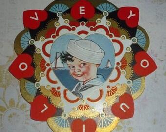 ON SALE till 7/28 Little Sailor Boy Art Deco Valentine Card