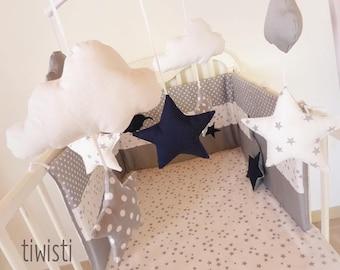 White stars fitted sheet grey crib