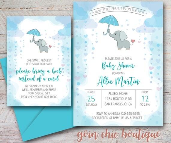 Elephant Baby Shower Invitation Blue Elephant Baby Shower Boy