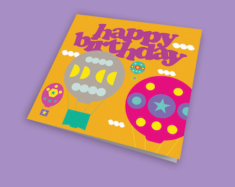 Up, Up and Away Happy Birthday Card, Fun Card, Children's Birthday Card