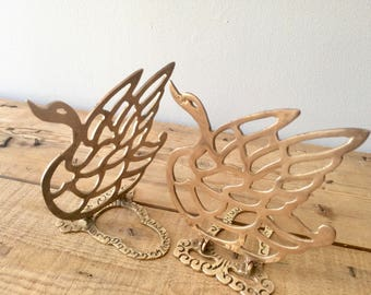 Brass Bookends, Brass Swans, Collapsible Brass Bookends Hollywood Regency,Vintage Brass Swans, Foldable Library Office Bookend Brass Bookend