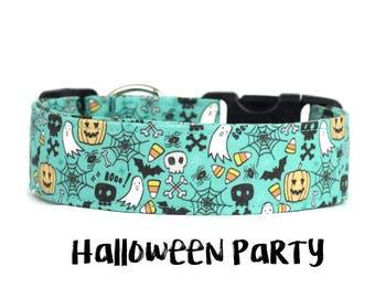 Halloween Collar, Halloween Dog Collar, Boy Dog Collar, Girl Dog Collar, Wide Dog Collar, Halloween (Upgrade to Metal Buckle or Martingale)
