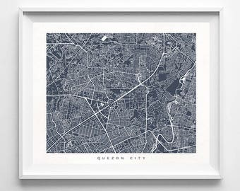 Quezon City Map, Philippines Print, Quezon City Poster, Philippines Art, Giclee Print, Wall Decor, Children Room Prints, Valentines Day Gift