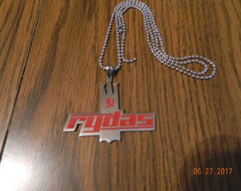 MIP- RYDAS Stainless Steel Pendant with Red enamel design and a 30 inch ball chain