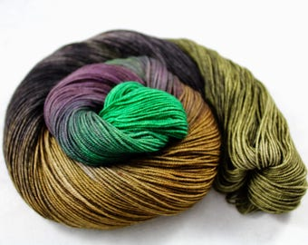 Gulp Your Gewurztraminer! - PREORDER - 100g  437yd Fingering Luxury Yarn 70/20/10 Sw Merino/Yak/Nylon- Green, wheat, black, purple