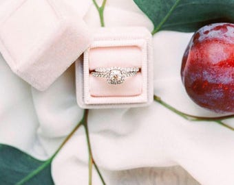 Vintage Inspired Ring Box with Seamless Top in Blush For Heirloom Rings, Wedding Presentation, and Proposal