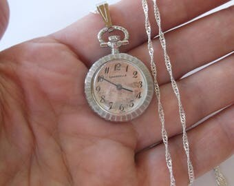 """Vintage Mid Century Mini Pocket Watch Necklace by Caravelle, Works, Excellent Condition on long 25"""" Sterling Silver Chain, Steampunk"""