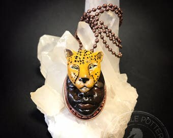 Cheetah Totem Animal Pendant Polymer Clay