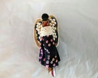 African-American Wooden Doll Brooch