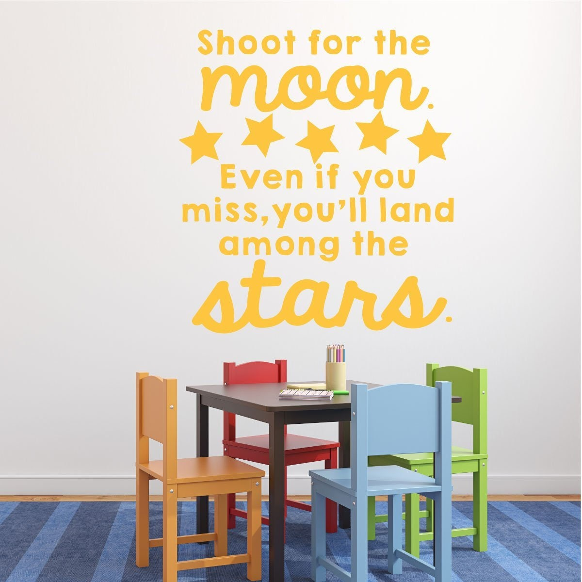 Classroom Vinyl Wall Decal Decorations - Shoot for the Moon ...