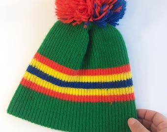 Child's Green Pom Pom Winter Hat