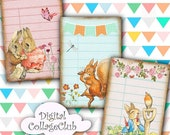 80% off Mothers Day Sale Peter Rabbit and Friends Digital Collage Sheet Library Cards, Digital Download ATC Digital Cards Digital Journaling