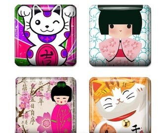 80%  off Graphics Sale Kokeshi Dolls Images Digital Collage 1 inch Square Scrabble Tile Images for Scrabble Tiles, Resin Pendants Glass Tile