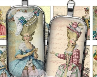 80 % off Graphics SaLe Shabby Chic Marie Antoinette 1 x 2 Digital Collage Sheet Images for Pendants Jewelry Making Domino Rectangle Printabl
