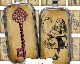 80 % off Graphics SaLe Steampunk Alice in Wonderland 1 x 2 Digital Collage Sheets Rectangle Dominoes Digital Images for Pendants Necklace
