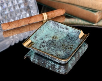 Vintage Small Brass Ashtray with Verdigris Finish