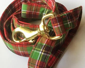 Plaid Christmas Dog Leash with Gold Hook