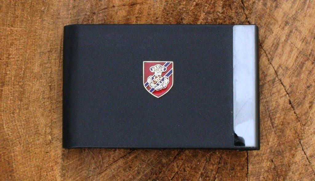 Royal Engineers Officers Shield Design Black PU and Metal Credit ...