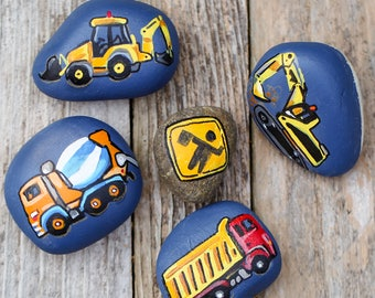 Set 1, Set of 5 Construction Site Hand Painted Stones Rocks, Story Stones, Sandbox Toys, Excavator, Tractor, Dump Truck, Cement Mix