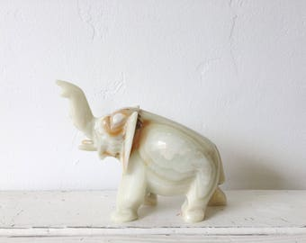 Vintage Stone Onyx Elephant Figurine / Home or Nursery Decor