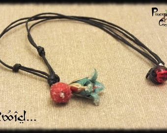 Origami Lily red and green - Rwid jewel... Frosted edge of leather - origami jewelry Christmas