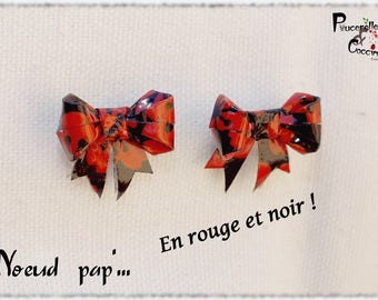 Bowtie '... Red and black! Earrings origami bow, on Japanese earrings.
