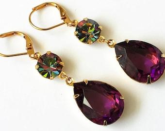 Amethyst Crystal Drop Earrings Swarovski Double Drop Earrings Purple and Gold Drop Earrings Wedding Bridesmaids Jewelry Amethyst Jewelry Set