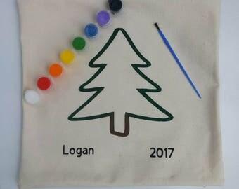 Keepsake DIY Christmas Tree Painting Kit Pillow Cover, Kids DIY Painting, Accent Pillow, DIY Kit, Decorative Pillow, Throw Pillow