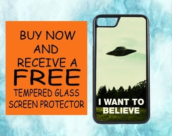 I Want To Believe Aliens Case With FREE Tempered Glass Screen Protector For iPhone 8 iPhone 8 Plus iPhone 7 iPhone 7 Plus iPhone X