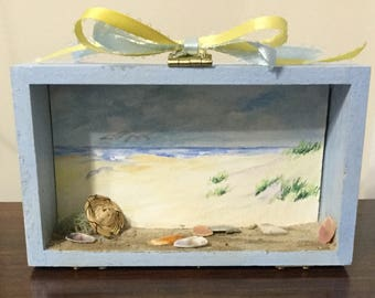 Beach, Ocean, Shells, Shadowbox, Small art decor