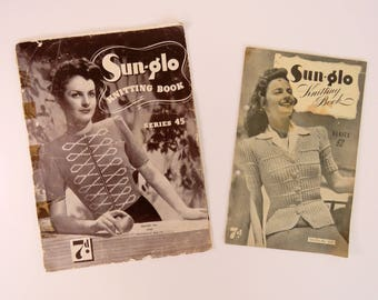 Vintage 1940s   knitting pattern booklets x 2 - Sunglo  women's designs
