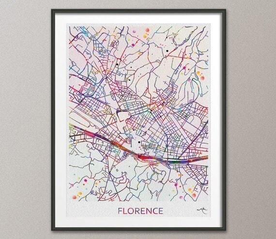 Carte de la ville de Florence Italie imprimer aquarelle Art