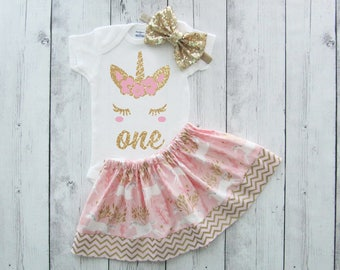 Unicorn First Birthday Outfit in Pink and Gold - girl birthday outfit, gold glitter and light pink, unicorn face shirt